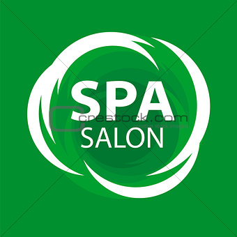 Abstract vector logo for Spa salon on a green background