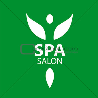 Abstract vector logo girl with wings for the spa salon
