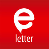 Abstract vector logo letter E on a red background