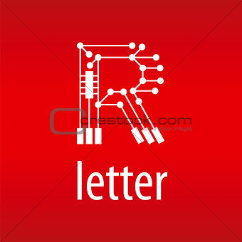 Abstract vector logo letter R in the form of a chip