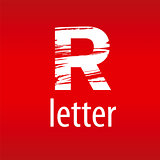 Abstract vector logo letter R in the form of print