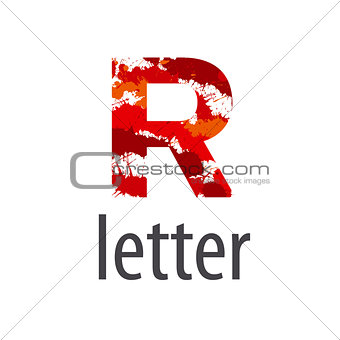 Abstract vector logo letter R made of colorful splash