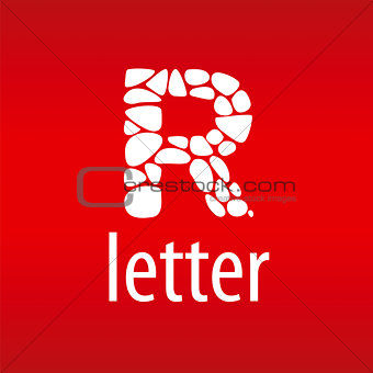 Abstract vector logo letter R with stones