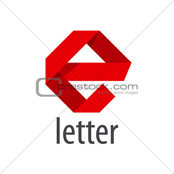 Abstract vector logo red ribbon in the shape of the letter E