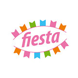 Abstract vector logo with flags for the fiesta