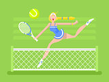 Cartoon character woman tennis player