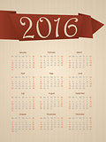 Fancy calendar with ribbon for year 2016