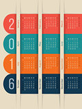 New calendar with color ribbons for year 2016
