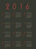 Simplistic retro colored 2016 calendar