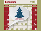 Calendar with speech bubble showing christmas