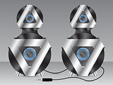Speakers with metal and plastic elements