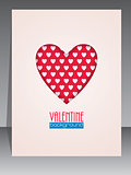 Greeting card with heart shape for Valentines day