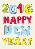 New Year 2016 hand drawn pastel vector sign