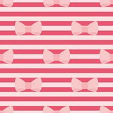 Tile vector pattern with pink bows on a red strips background.