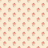 Tile vector pattern with cupcakes on pastel background