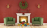 Retro christmas interior with fireplace