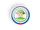Round sticker with flag of belize
