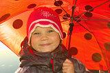 Positive girl with umbrella