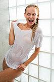happy woman under shower