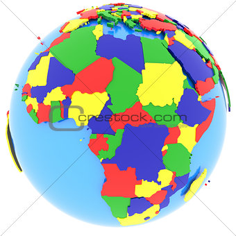 Africa on the globe