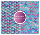 Vector Seamless Pink Blue Geometric Pattern Collection