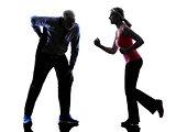 couple senior fitness exercises silhouette