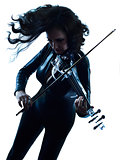 Violinist woman slihouette isolated