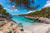 Turquoise waters of a bay in the Mondrago Natural Park, Mallorca