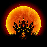 Halloween Illustration Blood Moon and Haunted Castle