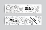 Back to school banner design. Hand drawn doodles.