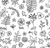 Vector floral seamless pattern in doodle style.