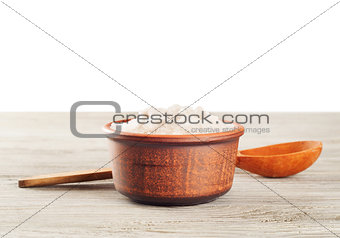 Aromatic salt and wooden spoon