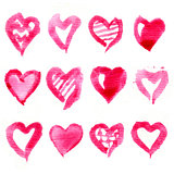Big set of pink watercolor hearts. Vector illustration.