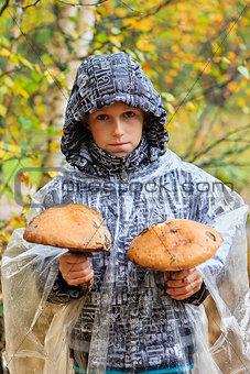 Boy with mushrooms