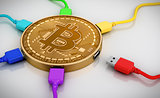 Color USB Wires Connected To The Bitcoin