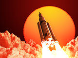 Space Launch System Takes Off On The Background Of Sunrise