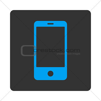 Smartphone flat blue and gray colors rounded button