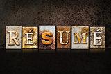 Resume Letterpress Concept on Dark Background