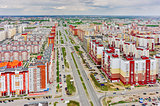 Bird eye view on Permyakova street. Tyumen. Russia