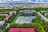 Residential district and Pond Duck. Tyumen.Russia