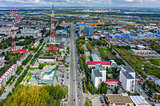 Cityscape with TV tower in Tyumen. Russia