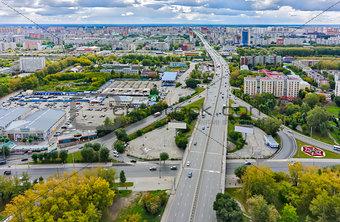 Aerial view on Permyakova street. Tyumen. Russia