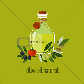 Carafe with Olive Oil Isolated on Background