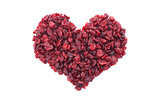 Dried cranberries in a heart shape