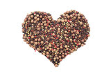 Mixed peppercorns in a heart shape