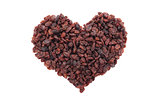 Raisins in a heart shape