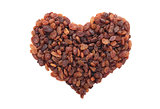 Sultanas in a heart shape