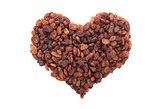 Sultanas in a heart shape