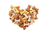 Mixed dried dog biscuits in a heart shape