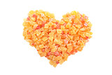Dried pineapple and papaya in a heart shape